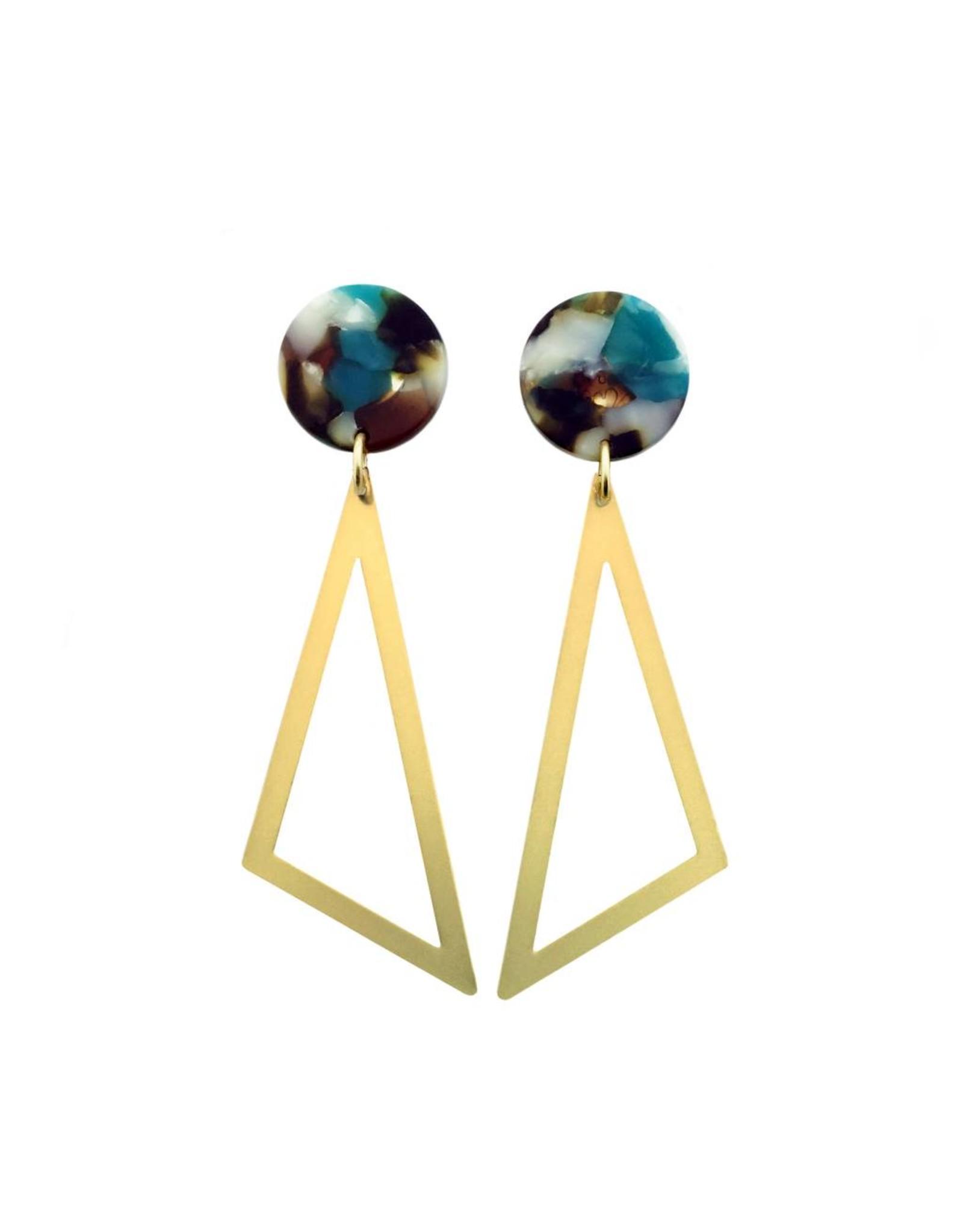 oorbEllen acryl 20mm turquoise driehoek