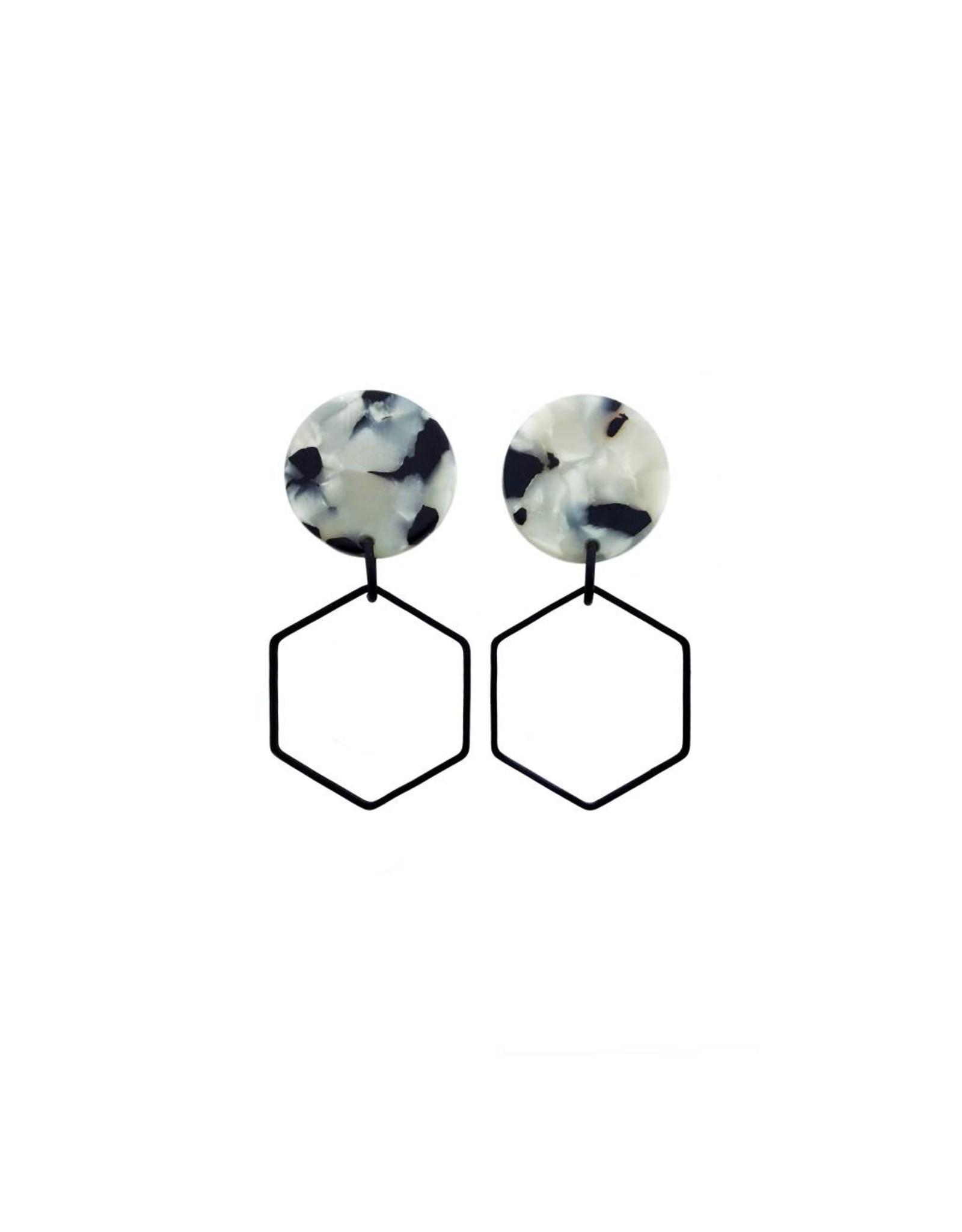 oorbEllen acryl 20mm wit zeshoek