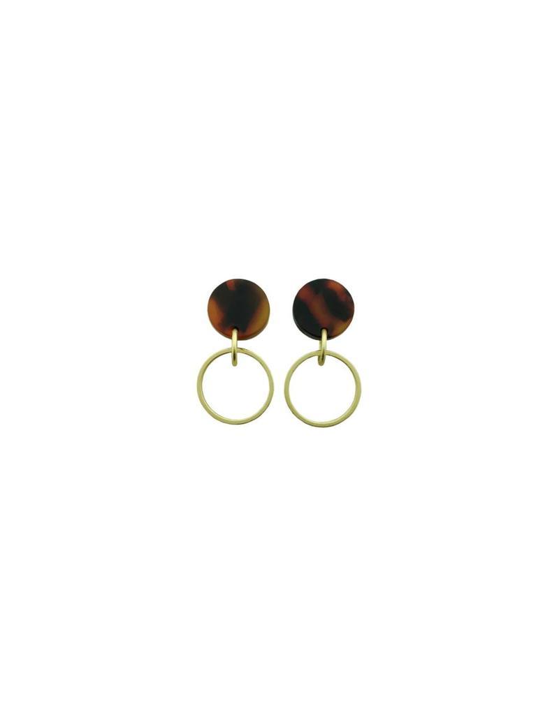 oorbEllen acryl 12mm bruin open cirkel