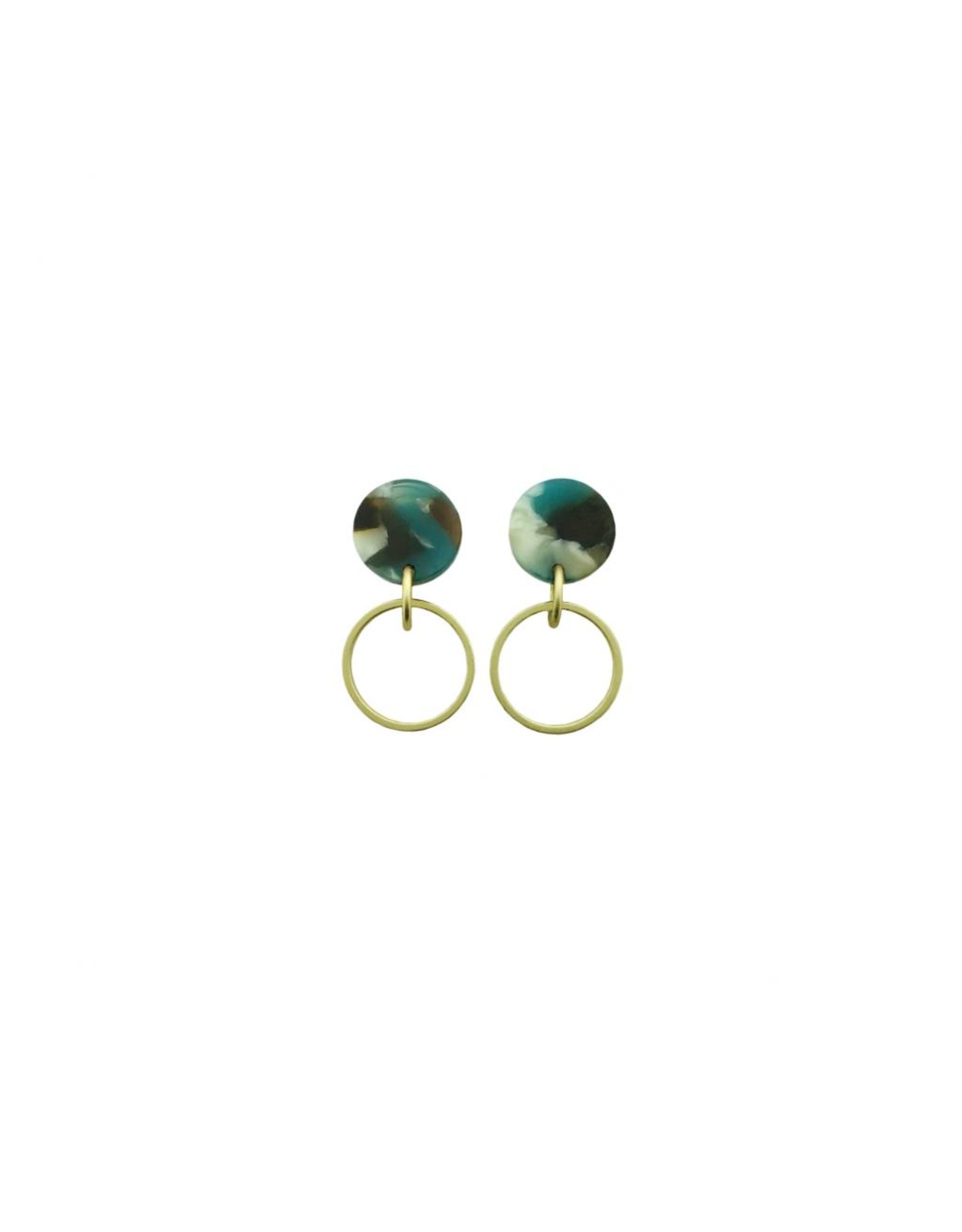 oorbEllen acryl 12mm turquoise open cirkel