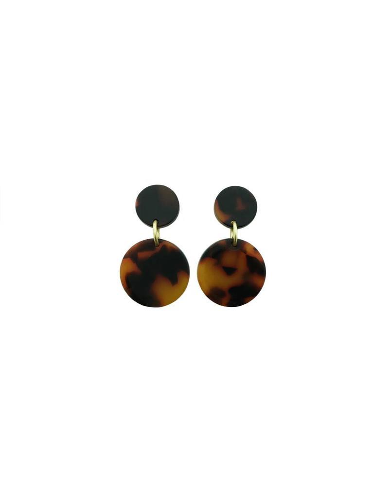 oorbEllen acryl 12mm bruin dubbel