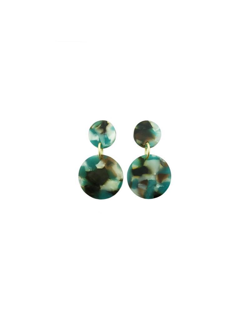 oorbEllen acryl 12mm turquoise dubbel