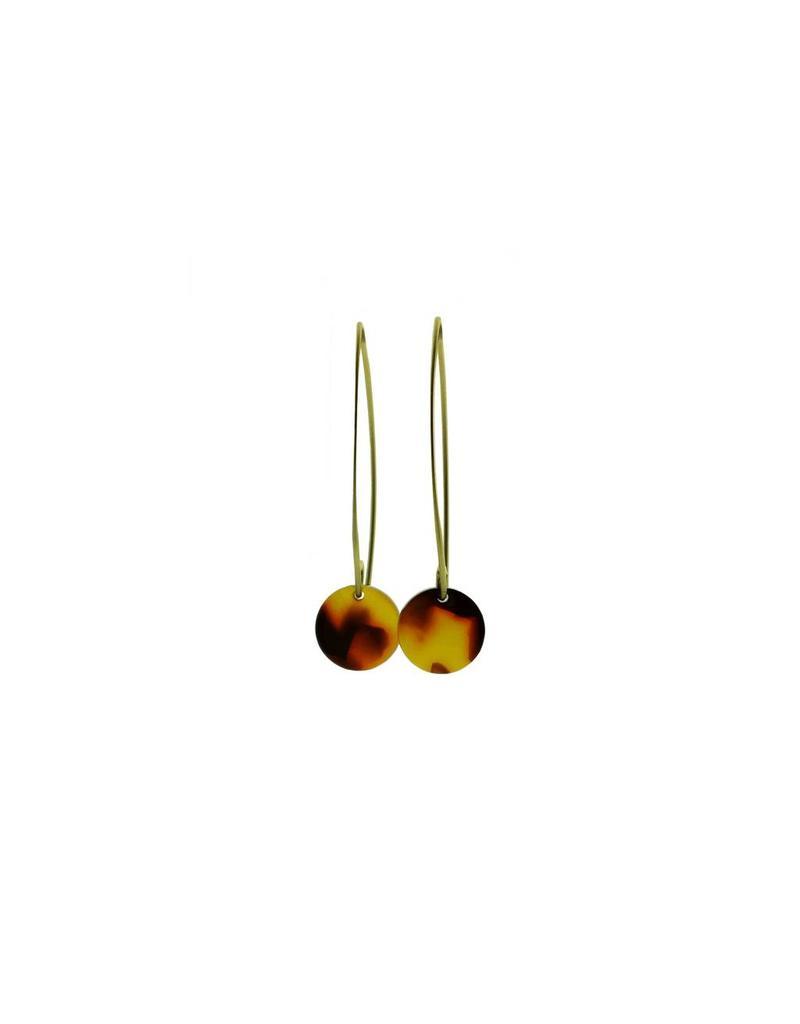 oorbEllen acryl 12mm bruin lang