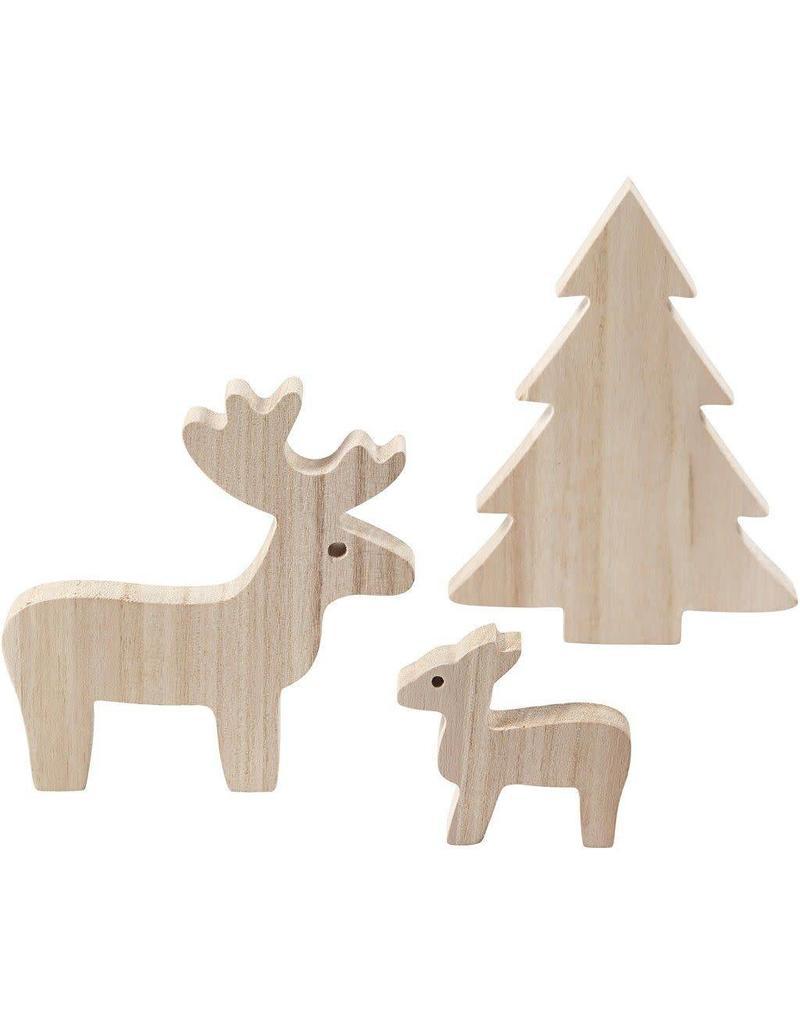 Houten figuurtjes Kerst