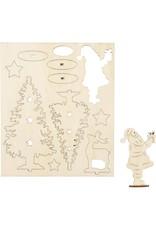 Houten figuurtjes kerstman en -bomen
