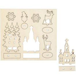 Houten figuurtjes kerk & kerstbomen