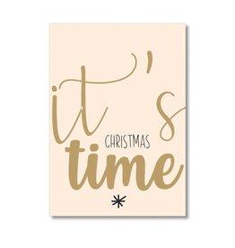 Postkaart It's Christmas time goudfolie