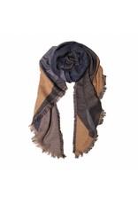 Sjaal blauw/zalmroze
