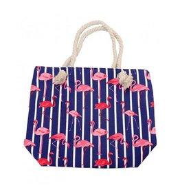 Strandtas flamingo fel blauw