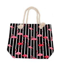 Strandtas flamingo zwart