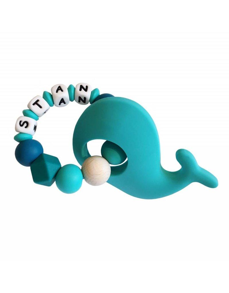 Bijtring siliconen met naam walvis