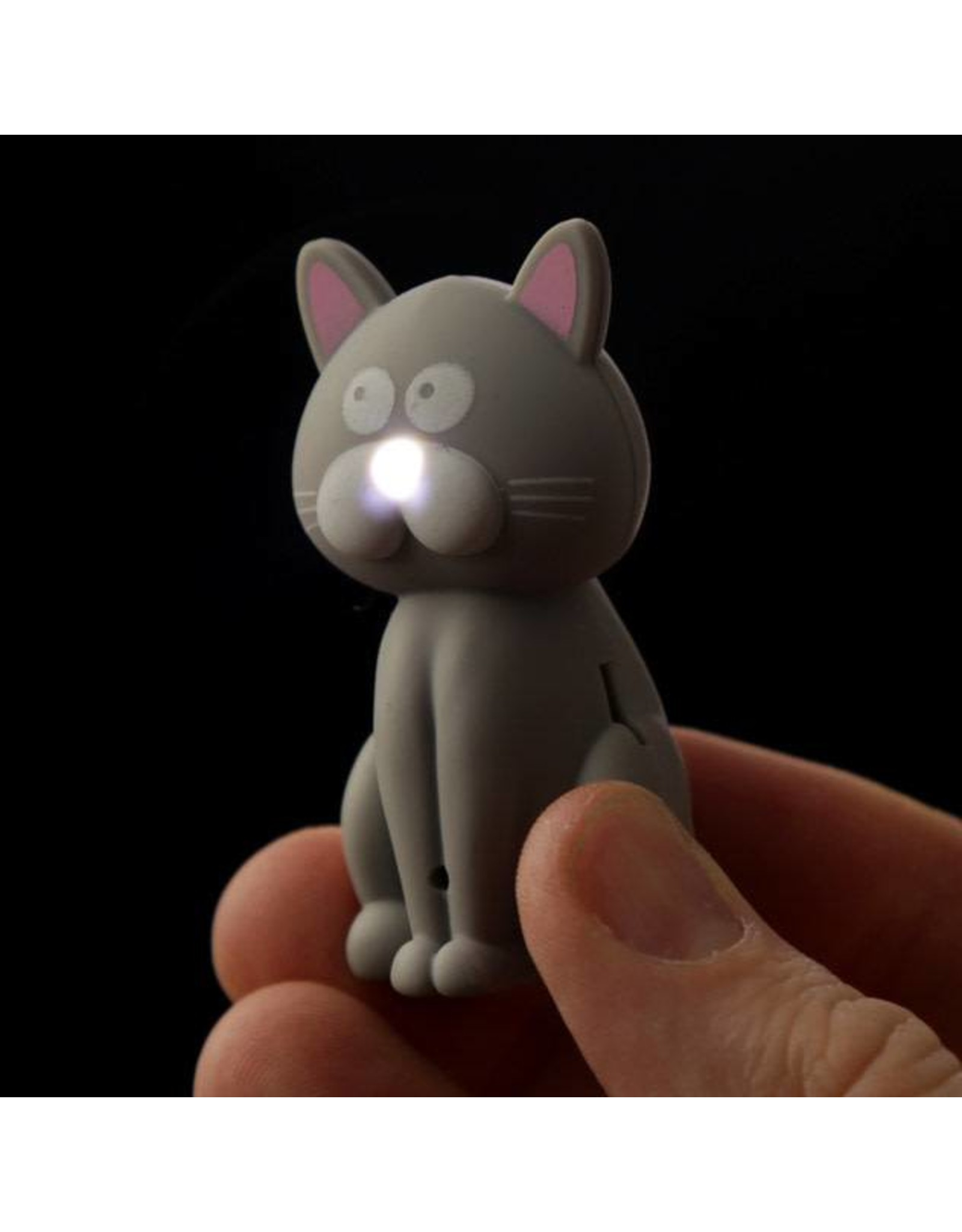 Sleutelhanger LED kat grijs