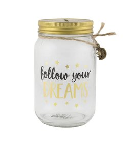 Spaarpot glas Follow your dreams