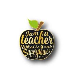 Pin leerkracht appel zwart