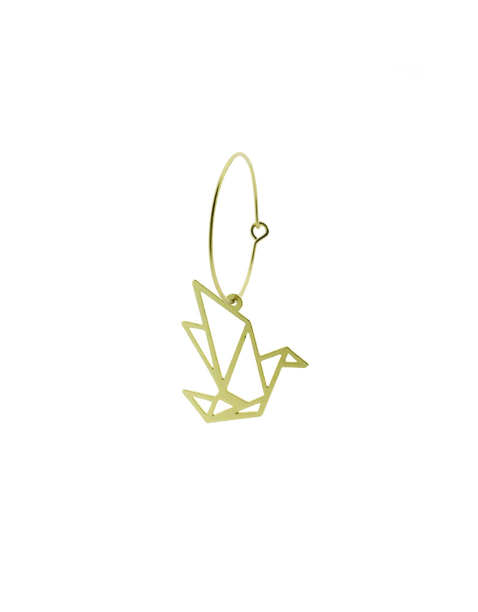 oorbEllen mix&match creool kraanvogel mat goud