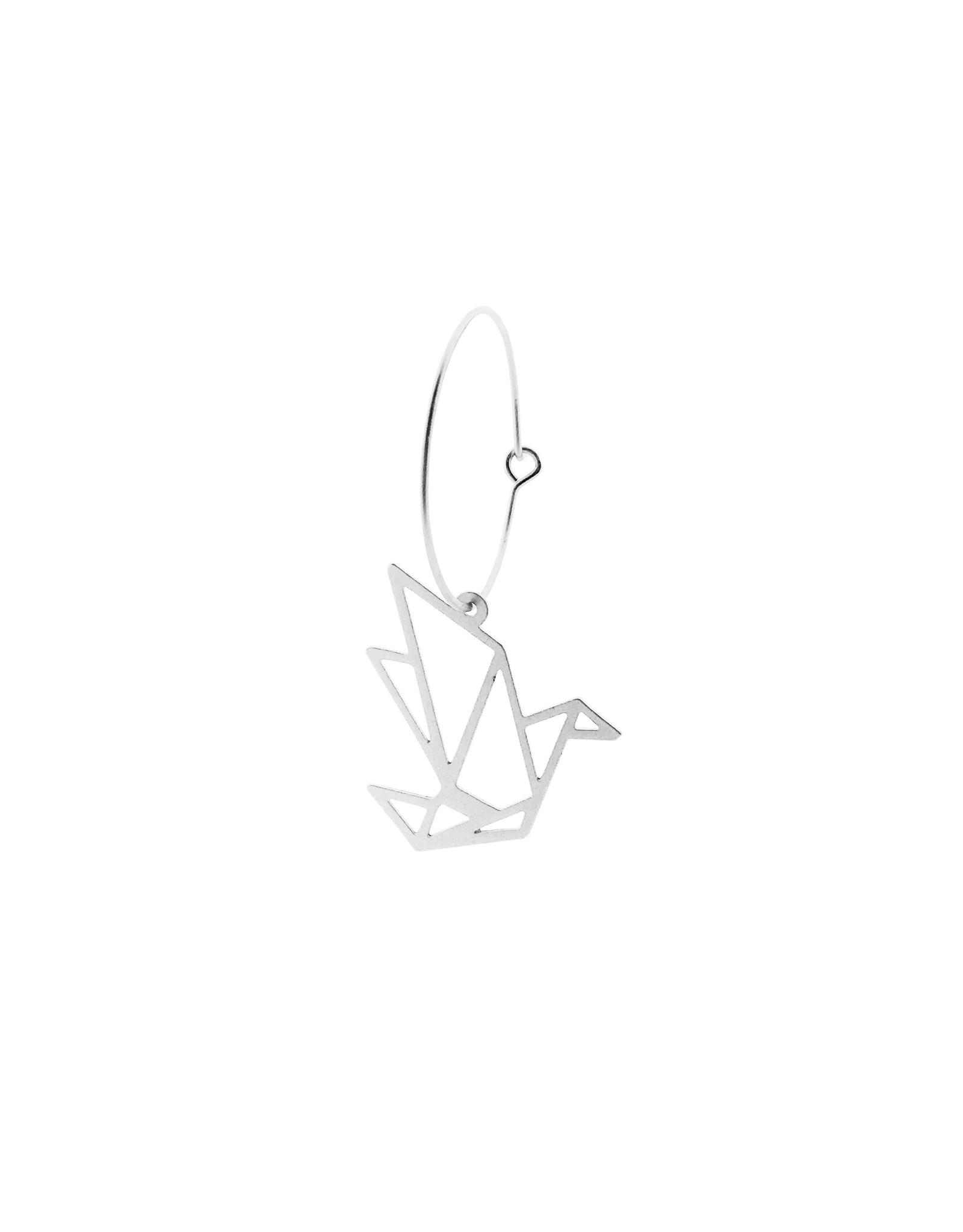 oorbEllen mix&match creool kraanvogel mat zilver