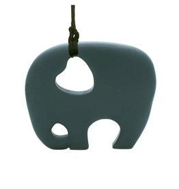 Bijtketting siliconen olifant donkergrijs