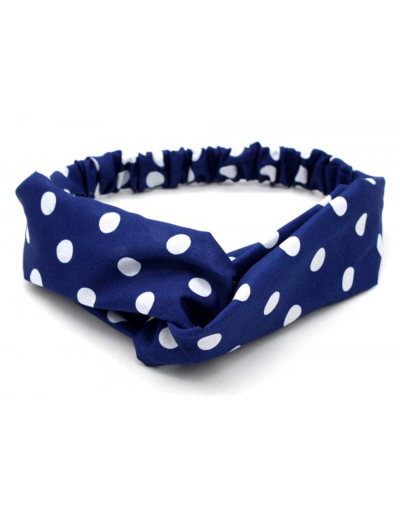 Haarband polkadot blauw