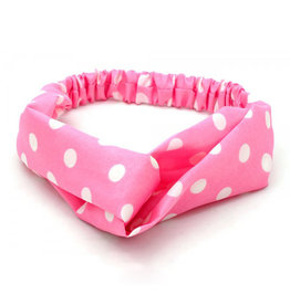 Haarband polkadot roze