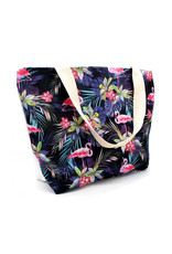 Shopper flamingo donkerblauw