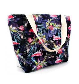 Shopper flamingo donkerblauw