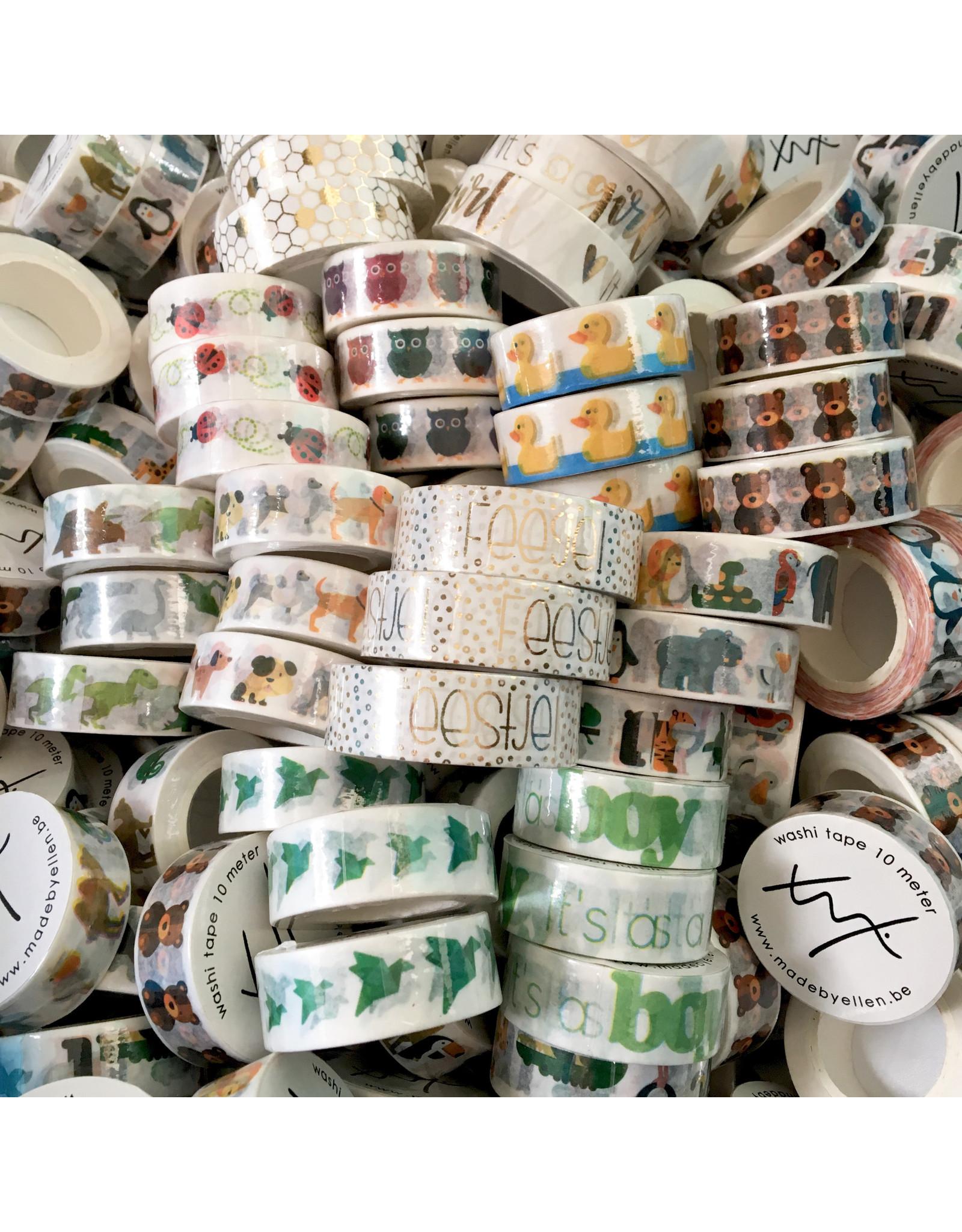 Washi tape honingraat goudfolie