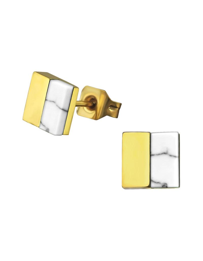 Stekertjes vierkant marmer/goudkleurig