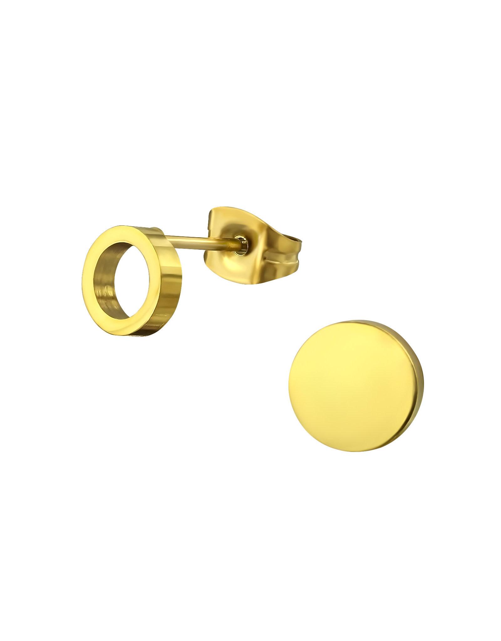 Stekertjes RVS cirkel asymmetrisch goudkleurig