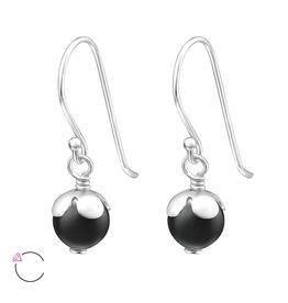 Hangertjes zilver parel zwart