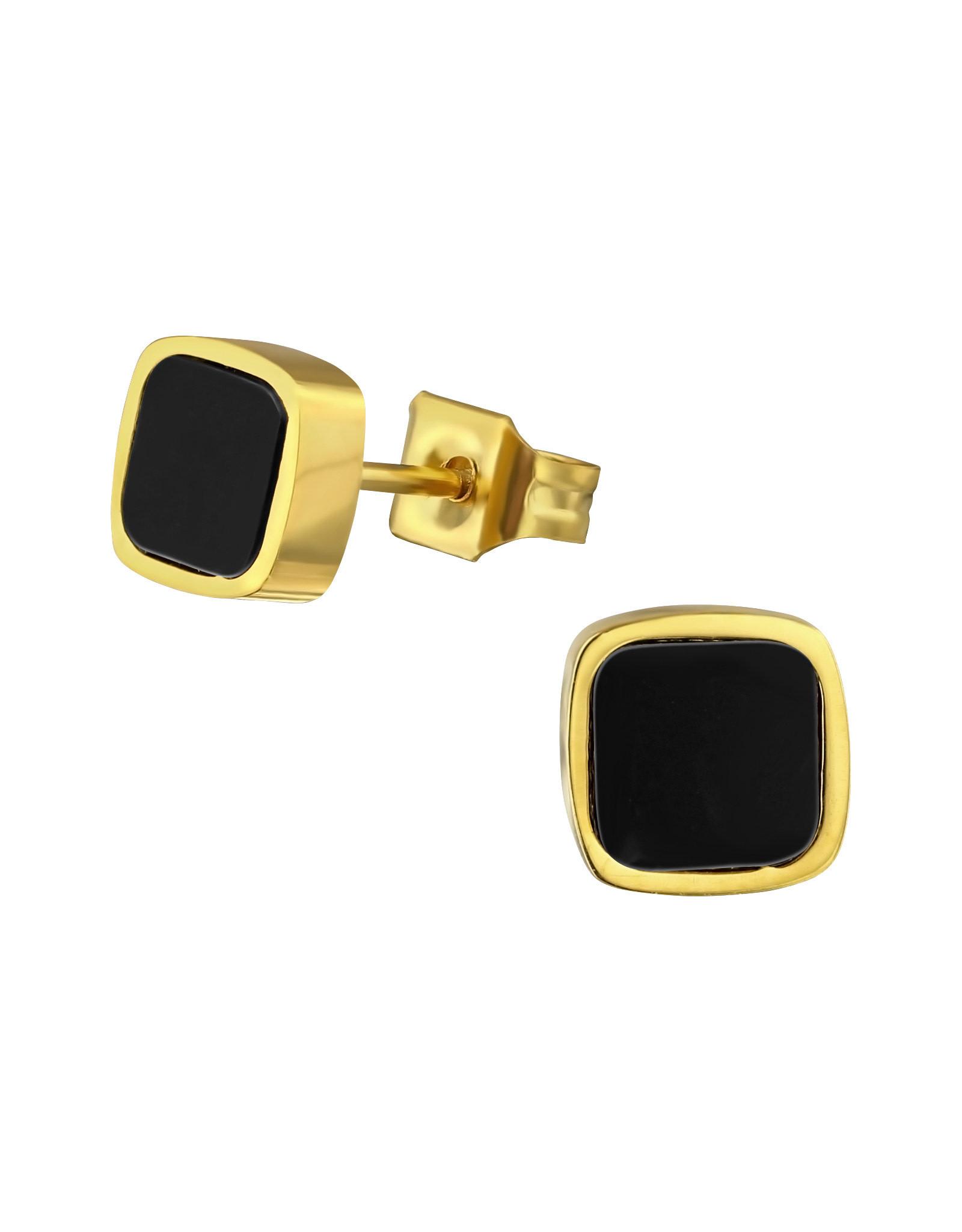 Stekertjes vierkant zwart goudkleurig