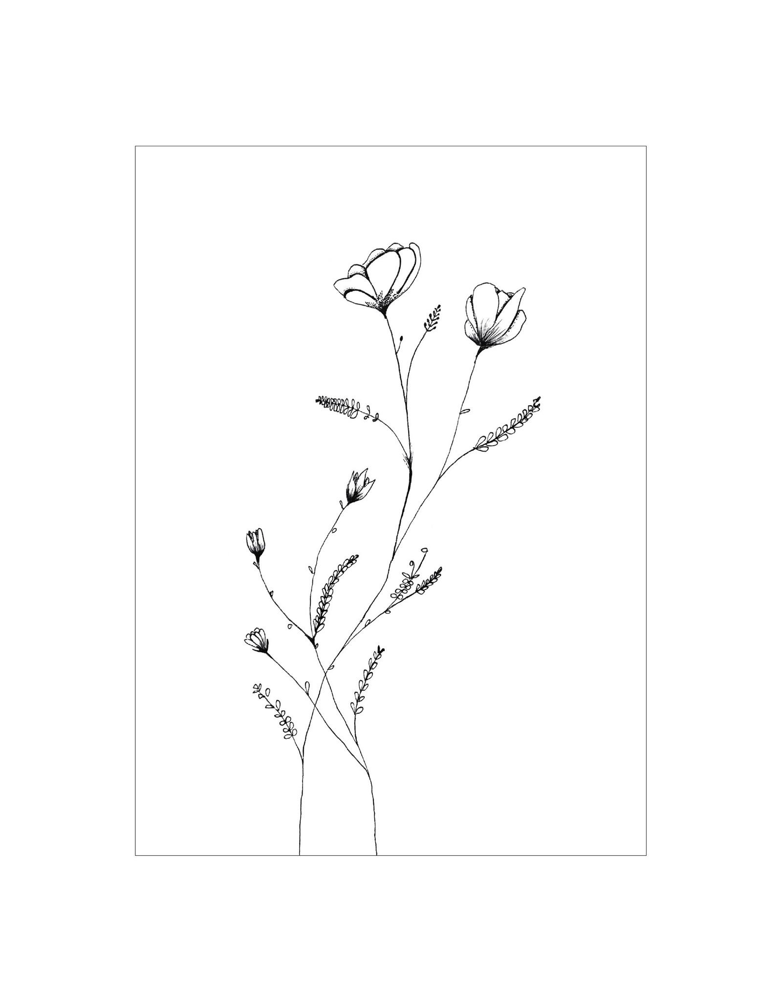 Postkaart Bloemen zwart/wit