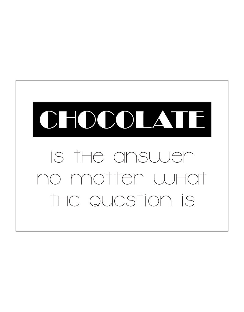 Postkaart Chocolate is the answer