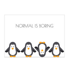 Postkaart Normal is boring pinguïn