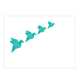 Postkaart origami kraanvogels