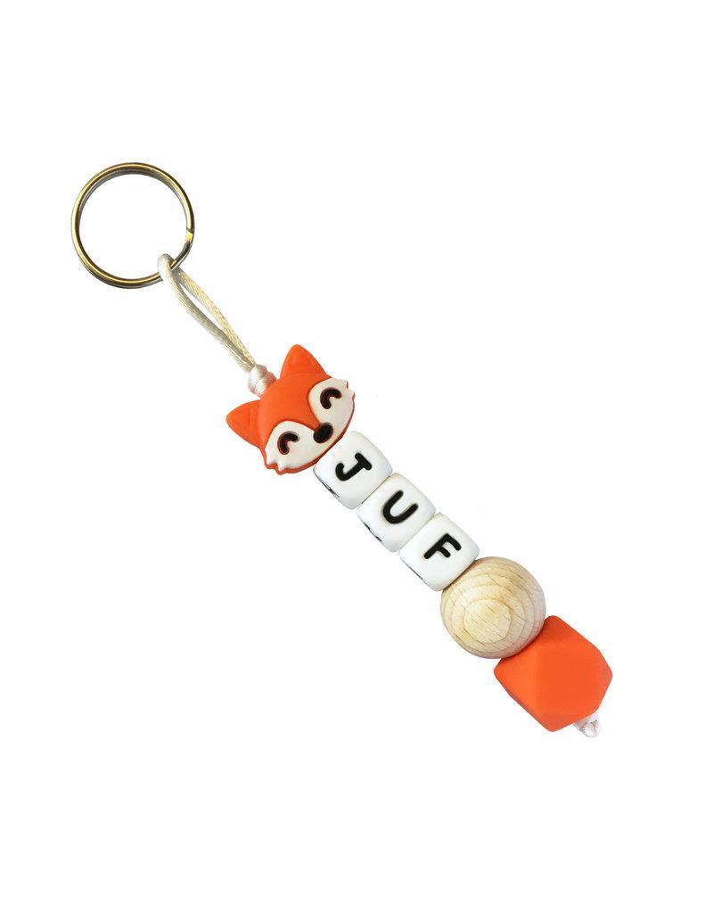 Sleutelhanger siliconen vos oranje