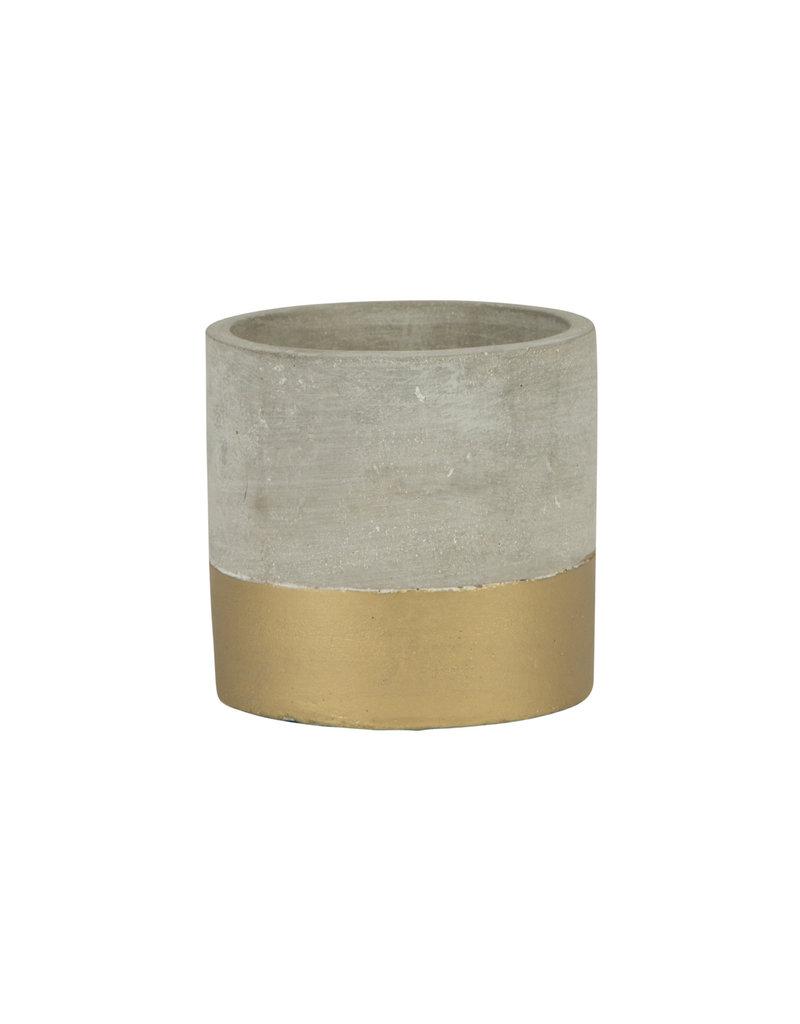 Bloempotje cement/goud