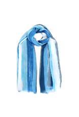 Sjaal verfstrepen blauw
