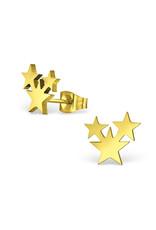 Stekertjes sterren trio goudkleurig