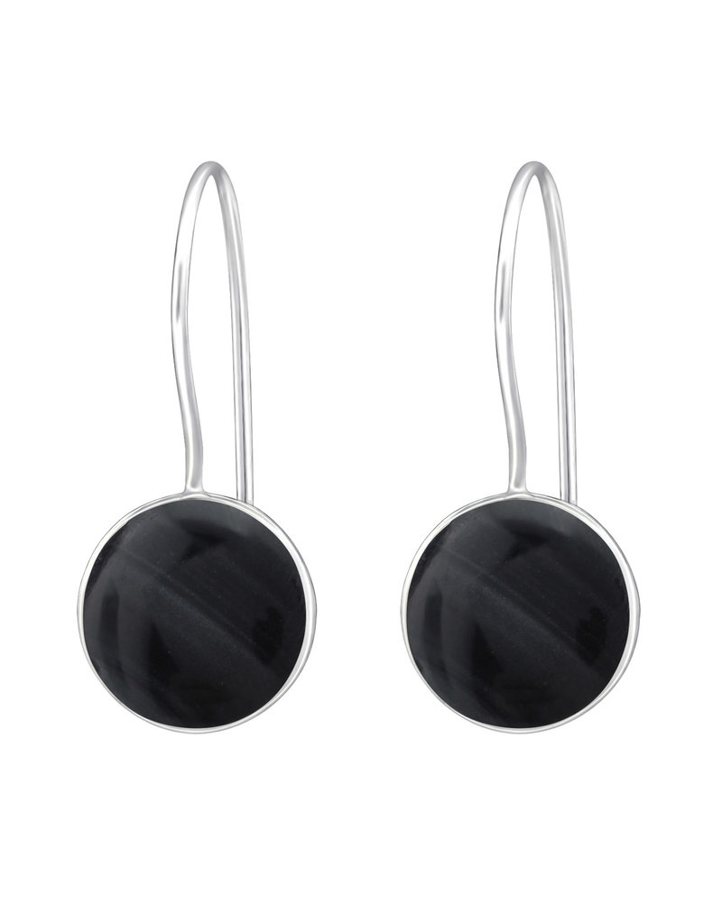 Hangertjes zilver parelmoer zwart