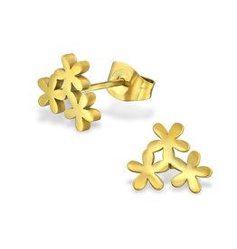 Stekertjes bloemetjes goudkleurig