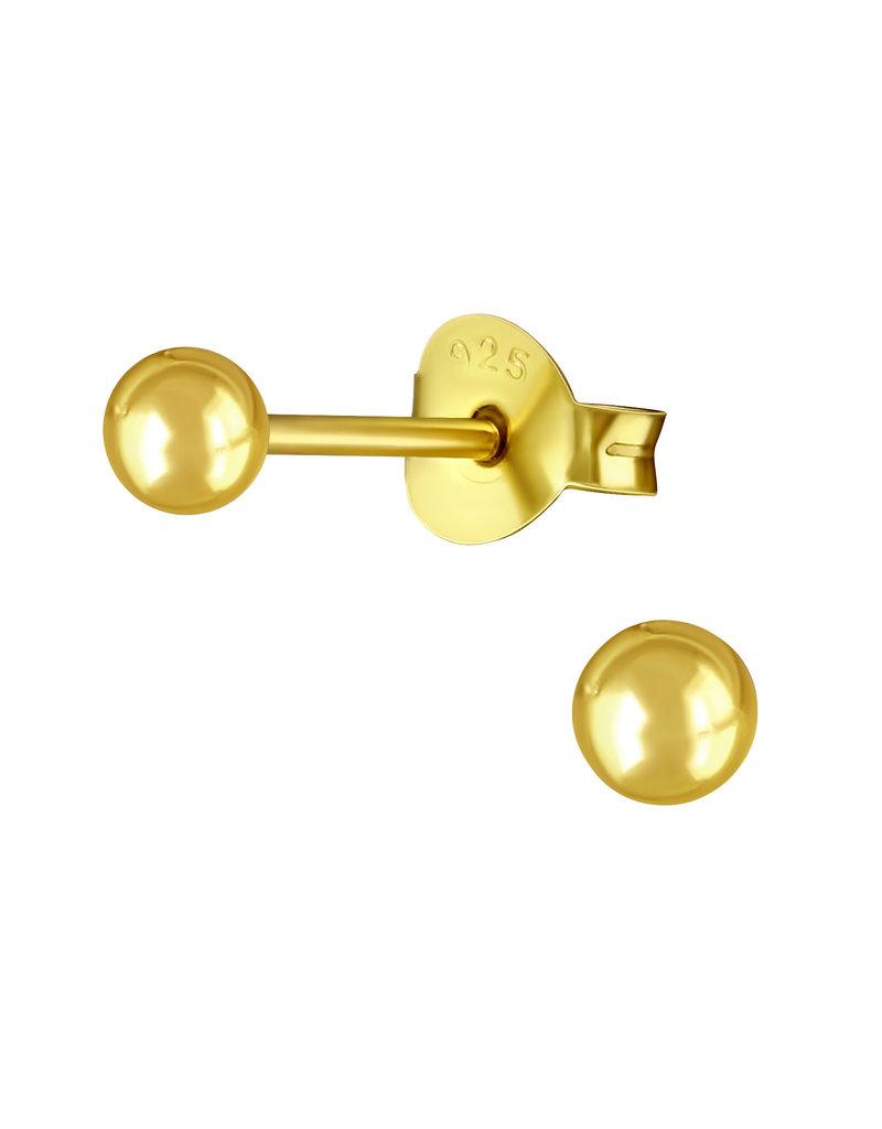 Stekertjes bolletje 3mm goudkleurig