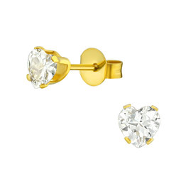 Stekertjes hartje kristal goudkleurig