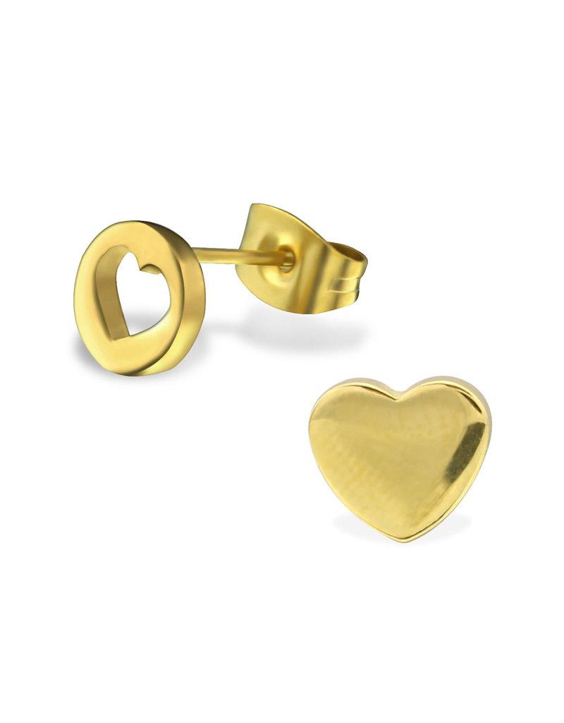 Stekertjes hart asymmetrisch goudkleurig