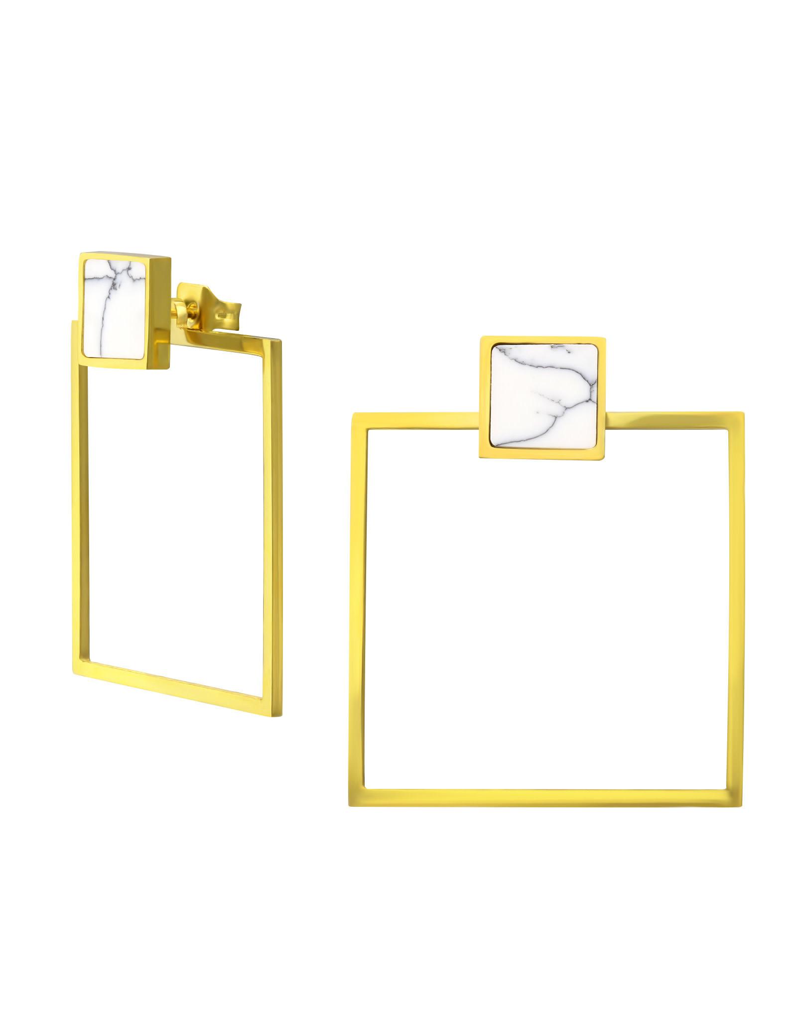 Stekertjes marmer vierkant groot goudkleurig