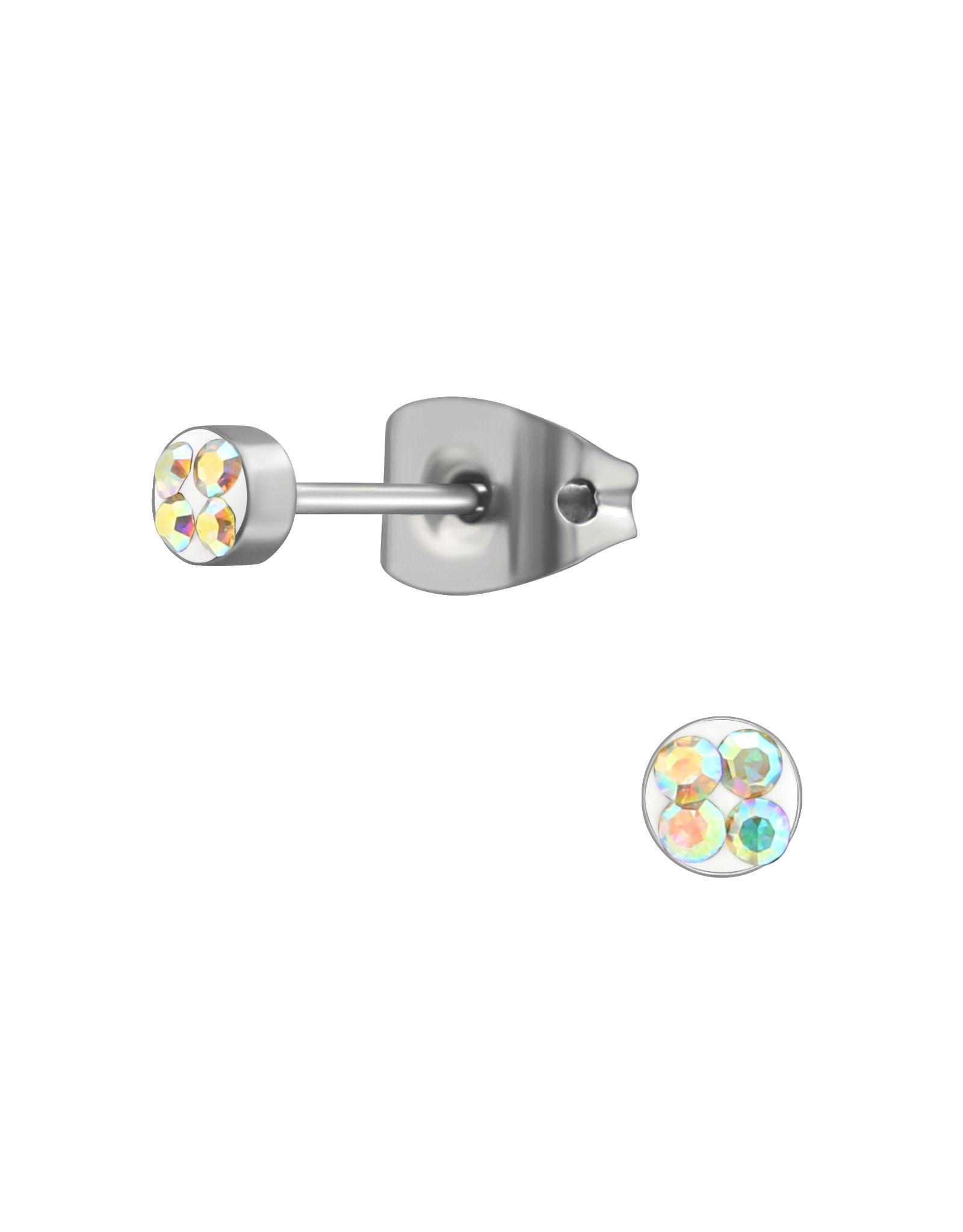 Stekertjes rvs kristal multicolor mini