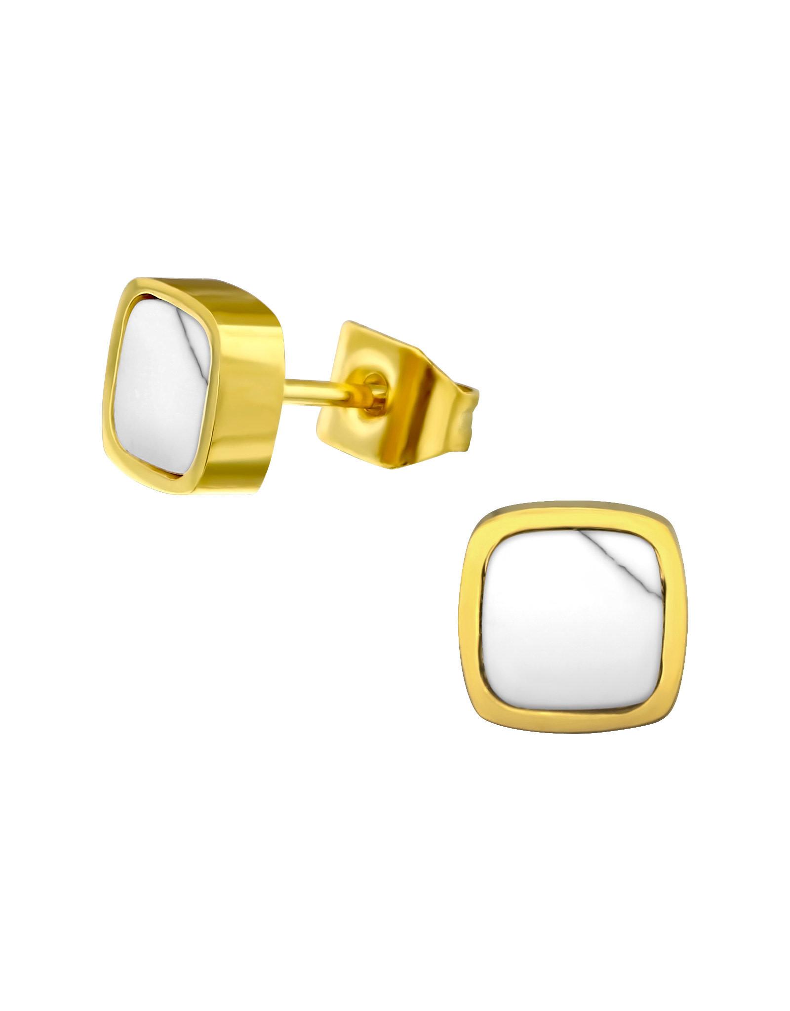 Stekertjes vierkant marmer goudkleurig