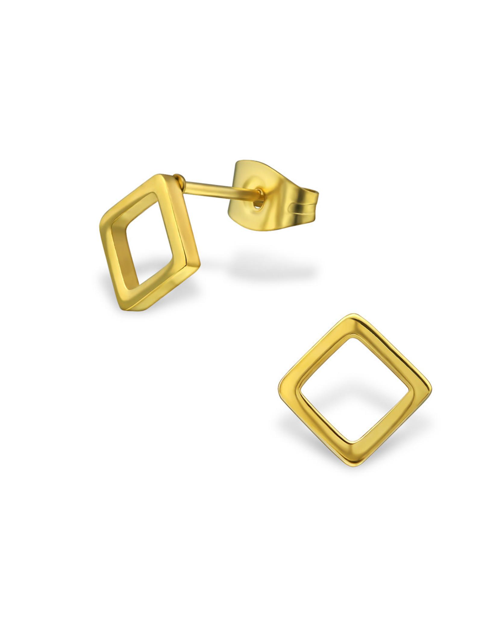 Stekertjes vierkant open goudkleurig