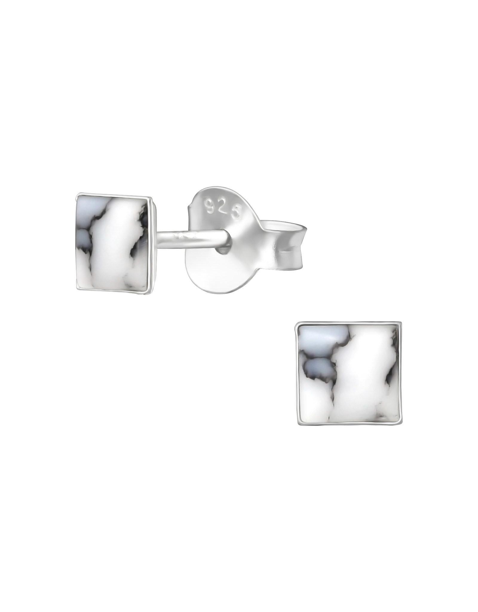 Stekertjes zilver marmer vierkant