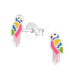Stekertjes zilver papegaai roze