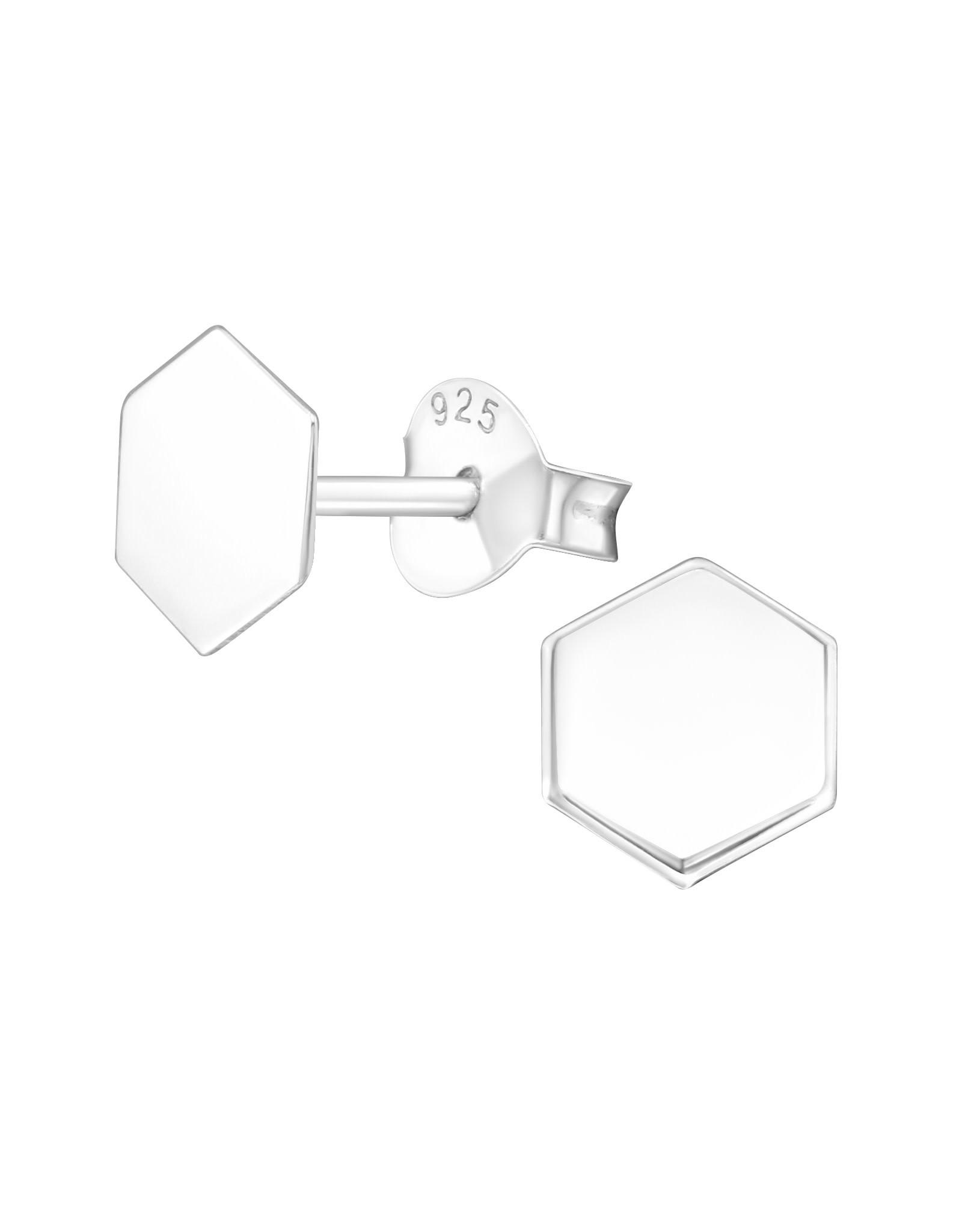 Stekertjes zilver zeshoekje